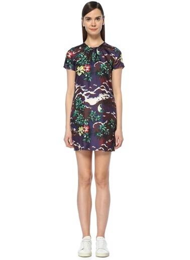 Kısa Kollu Çiçekli Mini Elbise-Dsquared2